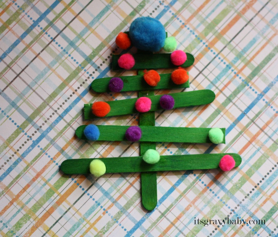 Popsicle Stick Christmas Trees - Preschool Craft - It's ...