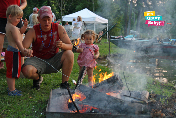 Making s'mores with dad