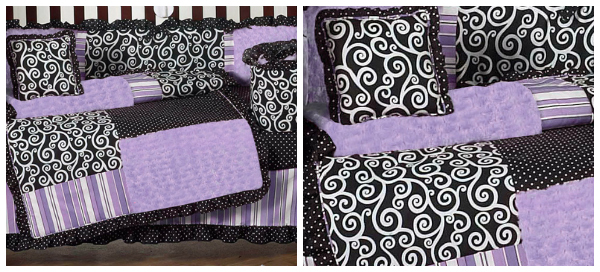 Beyond Bedding Purple and Black Kaylee Girls Boutique Baby Bedding