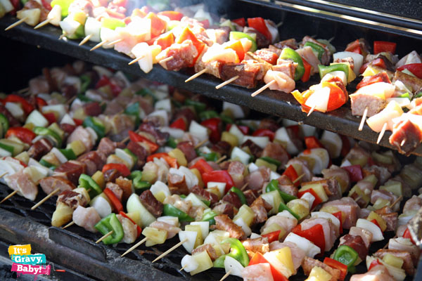 Beef Peppers Pineapple Kabobs
