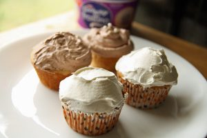 Peanut Butter Cupcakes with Cool Whip Frosting