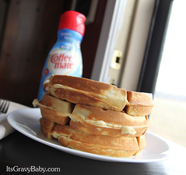 Fluffy French Vanilla Waffles with Coffee-mate Creamer