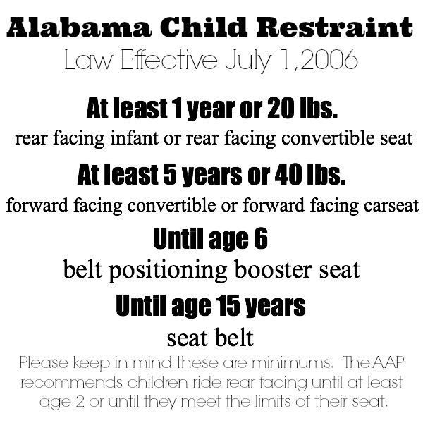 AL Child Restraint Laws