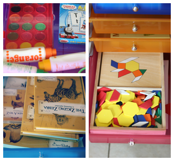 10 Drawer Multi Color Rolling Cart Homeschool Organization