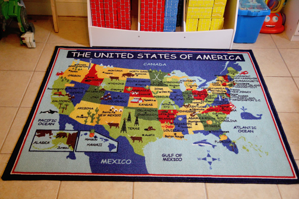 USA Map Rug School Room